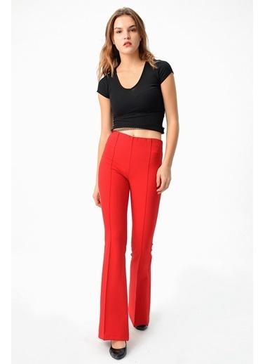 Jument Yüksek Bel Önü Arka Dikişli Ispanyol Pantolon -  Bordo Kırmızı